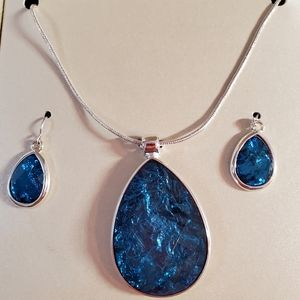 Kim Roger's Silver And Blue Tear Drop Necklace Set